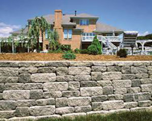 rock retaining wall in Bergen County