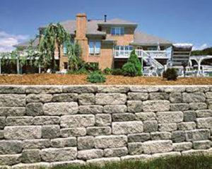 rock retaining wall in Bergen County